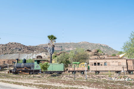 northern african: NABABEEP, SOUTH AFRICA - AUGUST 17, 2015: An historic train at the museum next to the copper mine in Nababeep, a small town in the Northern Cape Namaqualand Editorial