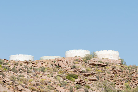 northern african: Remnants of reservoirs on a hill outside Okiep in the Northern Cape Province of South Africa