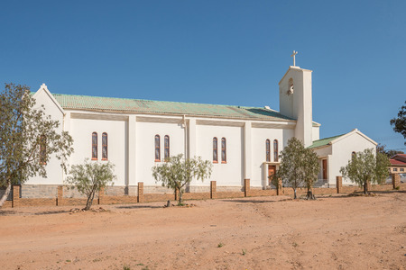 mining town: The Heilige Rosekrans Church in Okiep, a small mining town in the Northern Cape Namaqualand. Stock Photo