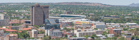 BLOEMFONTEIN, SOUTH AFRICA, JANUARY 6, 2016: A Panorama of part of the western Central Business District and Park-West in Bloemfontein, as seen from Naval Hill Stok Fotoğraf - 51661121