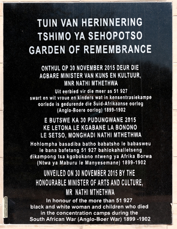 boer: BLOEMFONTEIN, SOUTH AFRICA, JANUARY 26, 2016: Plaque at the Garden of rememberance at the Womens Memorial to commemorate the women and children who died in the Anglo Boer War 1899 to 1902