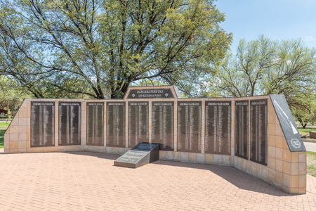 boer: BLOEMFONTEIN, SOUTH AFRICA, JANUARY 26, 2016: A wall of rememberance at the Womens Memorial for the soldiers who died in the Anglo Boer War 1899 to 1902