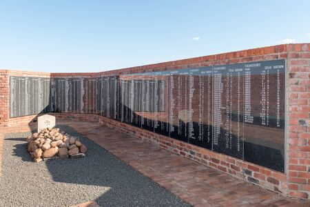 boer: SPRINGFONTEIN, SOUTH AFRICA - FEBRUARY 16, 2016: Memorial wall at the military cemetery for 663 Boers who died in the concentration camp in the Second Boer War 1899-1902 Editorial
