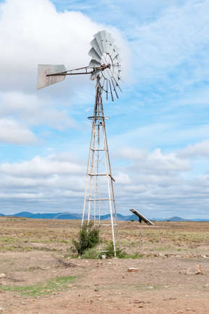 nature conservancy: A water-pumping windmill, replaced by a solar driven waterpump, in the Mountain Zebra National Park near Cradock in South Africa