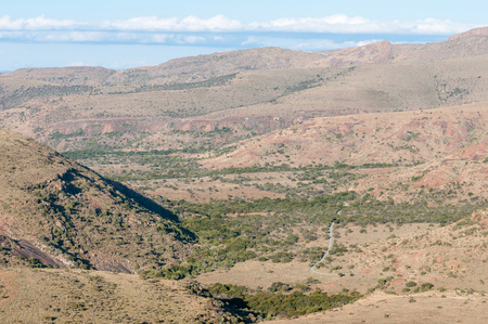 nature conservancy: View from the mountain pass on the Kranskop Loop in the Mountain Zebra National Park near Cradock in South Africa Stock Photo