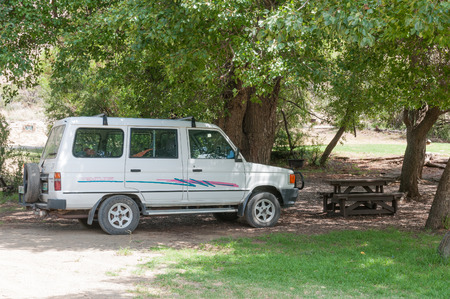 table mountain national park: MOUNTAIN ZEBRA NATIONAL PARK, SOUTH AFRICA - FEBRUARY 17, 2016: The Weltevrede picnic area with barbeque facilities in the Mountain Zebra National Park near Cradock in South Africa Editorial