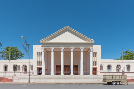 cornerstone: SOMERSET EAST, SOUTH AFRICA - FEBRUARY 19, 2016: The cornerstone of the town hall was laid on 25 September 1890. Somerset East is a small town in the Eastern Cape Province