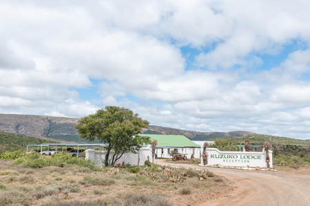 nature conservancy: ADDO ELEPHANT NATIONAL PARK, SOUTH AFRICA - FEBRUARY 21, 2016: Reception buildings of Kuzuko Lodge in a private consession area of the Addo Elephant National Park