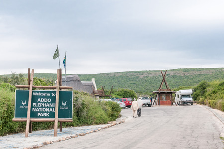 nature conservancy: ADDO ELEPHANT NATIONAL PARK, SOUTH AFRICA - FEBRUARY 26, 2016: The Matyholweni reception office and entrance gate at the southern end of the park