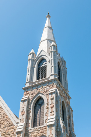 methodist: PORT ELIZABETH, SOUTH AFRICA - FEBRUARY 27, 2016: Close-up of the tower of the historic St. Johns Methodist Church in Havelock Street