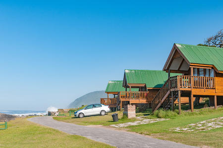chalets: STORMS RIVER MOUTH, SOUTH AFRICA - FEBRUARY 29, 2016:  Chalets overlooking the Indian Ocean at Storms River Mouth Rest Camp