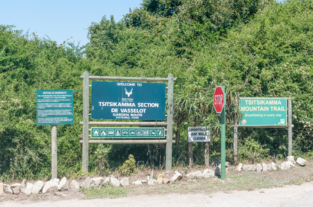 natures: NATURES VALLEY, SOUTH AFRICA - MARCH 2, 2016: Information signs at the gate to the De Vaselot Rest Camp near the town of Natures Valley Editorial