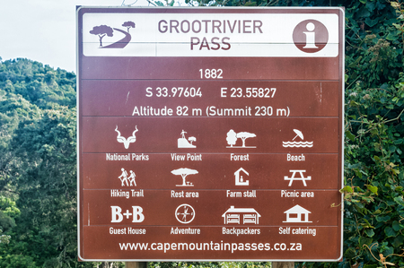 natures: NATURES VALLEY, SOUTH AFRICA - MARCH 3, 2016: Information board at the bottom of the Grootrivier Pass at Natures Valley