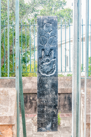 baron: PLETTENBERG BAY, SOUTH AFRICA - MARCH 3, 2016: The Governor of the Cape of Good Hope, Baron van Plettenberg, erected this possessional stone of the Dutch East India Company on a hill in 1778 Editorial