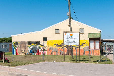 big five: RHEENENDAL, SOUTH AFRICA - MARCH 4, 2016: The community hall with the Big Five painted on the walls in Rheenendal, a village on the Seven Passes Road in the Garden Route
