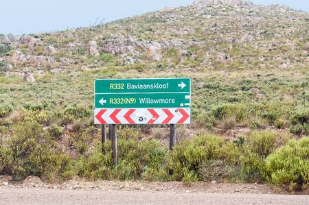 A directional roadsign near the entrance to the Baviaanskloof (baboon valley)
