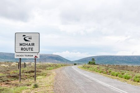 mohair: Sign near Wolwefontein, announcing the start of the Mohair Route, an industry that started in 1838