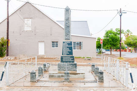 world war 1: JANSENVILLE, SOUTH AFRICA - MARCH 7, 2016:  A memorial in Jansenville for local citizens who died during World War 1. Falling rain is visible