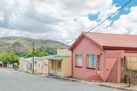 northern african: A street scene with old houses in Colesberg, Northern Cape Province of South Africa. Stock Photo
