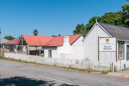 KNYSNA, SOUTH AFRICA - MARCH 3, 2016: The Knysna Museum Complex comprises  historic timber and corrugated iron buildings including Millwood House, Parkes Shop, Pitt Street House and Parkes Cottage