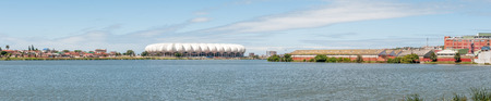 nelson: PORT ELIZABETH, SOUTH AFRICA - FEBRUARY 27, 2016:  The Nelson Mandela Bay Stadium was built to resemble a king protea, the National Flower of South Africa