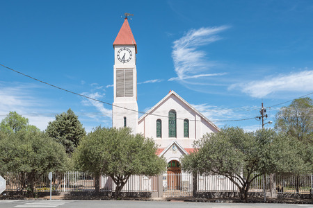 KOFFIEFONTEIN, SOUTH AFRICA - DECEMBER 24, 2016: The Dutch Reformed Church in Koffiefontein (coffee fountain), a diamond mining town in the Free State Province. Built 1909 with the tower added later