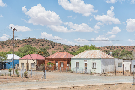JAGERSFONTEIN, SOUTH AFRICA - DECEMBER 31, 2016: Low cost houses in Charlesville, a suburb of Jagersfontein, a diamond mining town in the Free State Province of South Africa