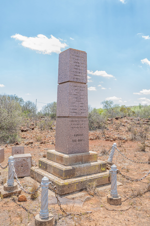 JAGERSFONTEIN, SOUTH AFRICA - DECEMBER 31, 2016: A monument for fallen soldiers in Jagersfontein, damaged by vandals