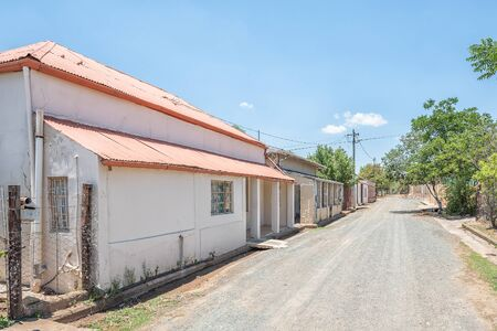 FAURESMITH, SOUTH AFRICA - DECEMBER 31, 2016: A street with historic old houses in Fauresmith, a small town in the Free State Province