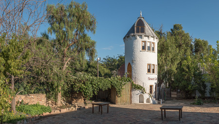 bethesda: NIEU BETHESDA, SOUTH AFRICA - MARCH 22, 2017: A guest house in the form of a tower in Nieu-Bethesda, an historic village in the Eastern Cape Province