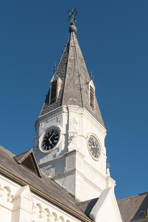 bethesda: Clock tower of the Dutch Reformed Church in Nieu-Bethesda, an historic village in the Eastern Cape Province. The church was built in 1905