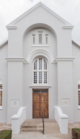 GRAAFF REINET, SOUTH AFRICA - MARCH 22, 2017: The main entrance of the Reformed Church in Graaff Reinet in the Eastern Cape Province Editorial