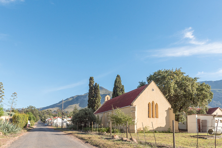 A street scene with the St Andrews Anglican Church in Greyton, a small town in the Western Cape Province of South Africa