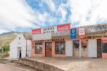GENADENDAL, SOUTH AFRICA - MARCH 27, 2017: A supermarket with automatic teller machines and the Independent Order of Good Templars hall in Genadendal, a small town in the Western Cape Province of South Africa