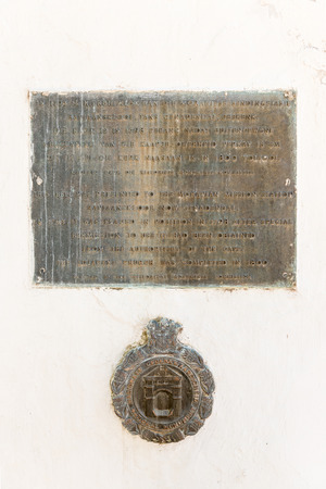 stating: GENADENDAL, SOUTH AFRICA - MARCH 27, 2017: Plaques on the belfry in Genadendal, stating that the bell was hung in 1798. Genadendal was the first mission station in South Africa, founded 1738 Editorial