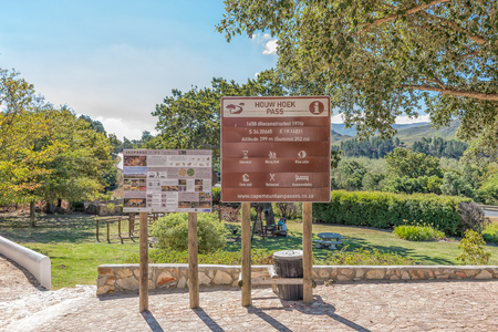 HOUWHOEK, SOUTH AFRICA - MARCH 27, 2017: Information boards at the Houwhoek Farm Stall at the top of the Houwhoek Pass