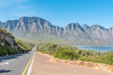 Clarence Drive between Gordons Bay and Rooi-Els with the Hottentots-Holland Mountains in the back