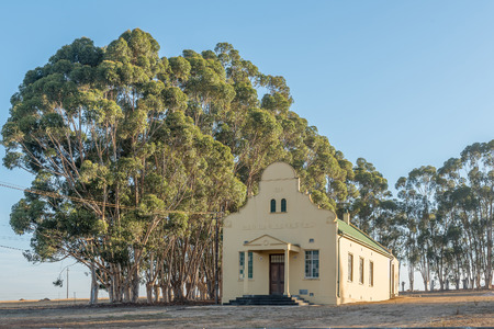 RIEBEECK WEST, SOUTH AFRICA - APRIL 2, 2017: Hall of the Dutch Reformed Church in Hermon, a village in the Swartland area of the Western Cape Province