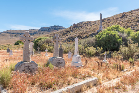MATJIESFONTEIN, SOUTH AFRICA - APRIL 2, 2017: Historic graves and a monument for Major General Andrew Wauchope near Matjiesfontein, a village in the Karoo region of the Western Cape Province Editorial