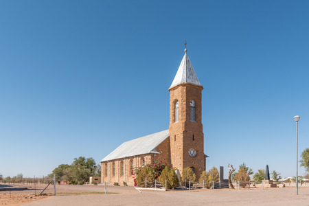church steeple: MARIENTAL, NAMIBIA - JUNE 14, 2017: The Dutch Reformed Church in Mariental, the capital town of the Hardap Region in Namibia Editorial