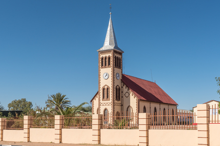 REHOBOTH, NAMIBIA - JUNE 14, 2017: The Paulus Kirche, an Evangelical Lutheran Church in Rehoboth, a town in the Hardap Region of Namibia