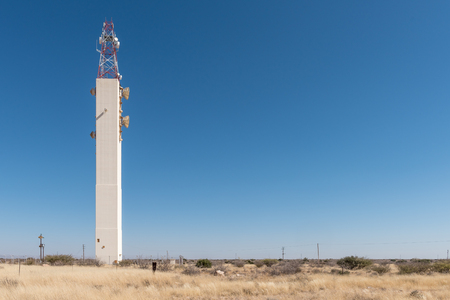 A microwave telecommunications tower near the Hardap Dam at Mariental, the capital town of the Hardap Region in Namibia