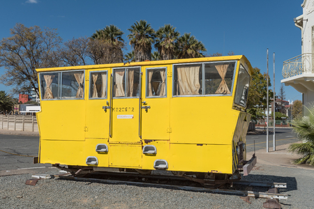 noon: WINDHOEK, NAMIBIA - JUNE 17, 2017: A rail track inspection car on display at the museum at the railway station in Windhoek