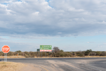 T-junction of the B1-road and C22-road near Otjiwarongo in the Otjozondjupa Region of Namibia