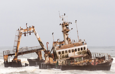 The shipwreck of the Zeila near Henties Bay on the Skeleton Coast of Namibia