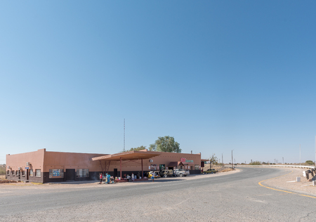 STAMPRIET, NAMIBIA - JULY 5, 2017: A shopping centre and street vendors in Stampriet, a small town of the Hardap Region in Namibia