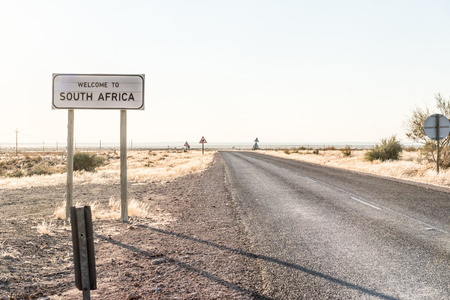 Welcome sign at the Rietfontein Border Post in South Africa on the border with Namibia