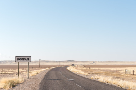 The  R31-road crossing the Koopan (Koo salt lake) in the Northern Cape Province of South Africa