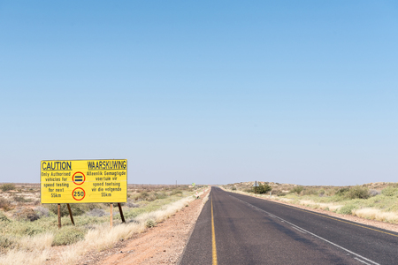 A speed limit warning sign on the R360-road between Askham and Upington in the Northern Cape Province of South Africa