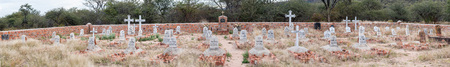 plateau: WATERBERG PLATEAU NATIONAL PARK, NAMIBIA - JUNE 19, 2017: Panorama of the German military graveyard, from the battle in 1904 between German and Herero armies, in the Waterberg Plateau National Park Editorial